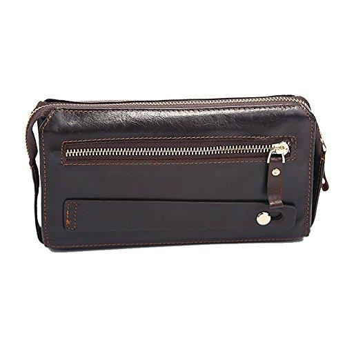 H&W Unterarmtasche Handgelenktasche Clutch Geldbörse Portemonnaie Leder für Herren Burgund#14