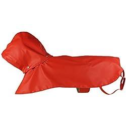 Pawow Mascota Abrigo Impermeable Transpirable Con Capucha Para Perro Pequeño Mediano Y Grande Color Rojo