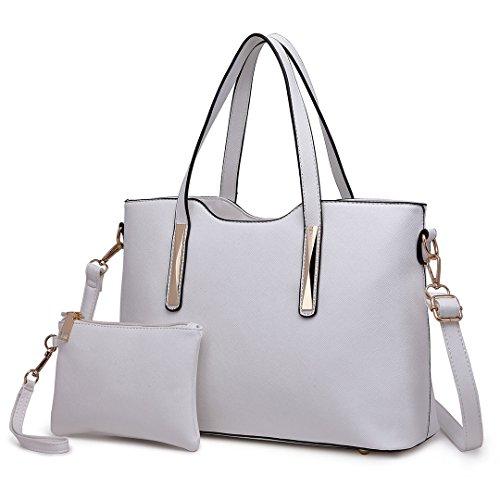 Miss Lulu Henkeltasche Damen Tasche 2 tIg. Shopper Reise Schultertasche - Designer Leder Weiß
