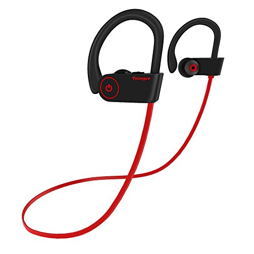 Auricolari Bluetooth 4.1, Yuanguo Cuffie Wireless IPX7 Stereo ( sostegno HSP, HFP, A2DP, AVRCP ) Qualità CD Qudio Impermeabile Headset Sportive con Microfono per iPhone, Android, iPod&iPad - Rosso