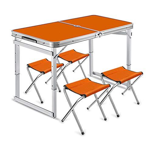 MSF Table Pliante Tableau et chaises Se pliants en Aluminium réglables de Table de fête de Pique-Nique extérieur portatif (Couleur : Orange)