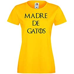 Camisetas de gato divertidas Child Madre de Gatos - para Mujer Camisetas Talla Small Color Amarillo