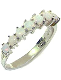 High Quality Solid Hallmarked Sterling Silver Natural Opal Eternity Ring