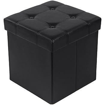 Songmics Tabouret Pouf Coffre Boîte de Rangement Repose-pied Cube Siège Pliable gagner de l'espace noir 38 x 38 x 38 cm LSF30B