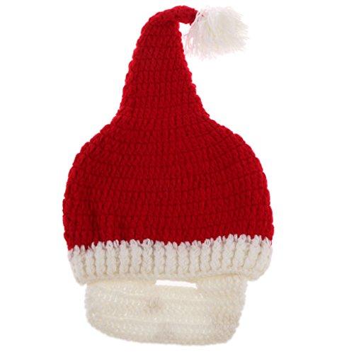 Sharplace Erwachsene Weihnachten Kostüm Gestrickt Santa Mütze Hut Bart Winter - Weißer (Bart Hut Santa Und)