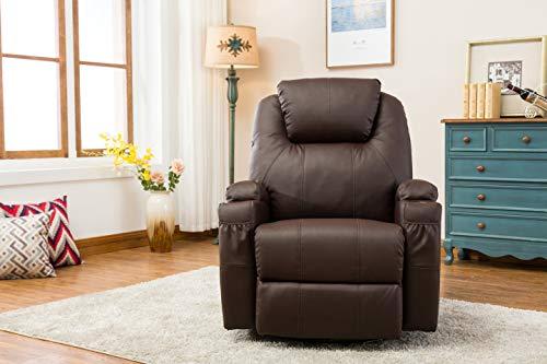 Mcombo Massagesessel Fernsehsessel Relaxsessel Braun Mit Heizung Dreh 360 Schaukel