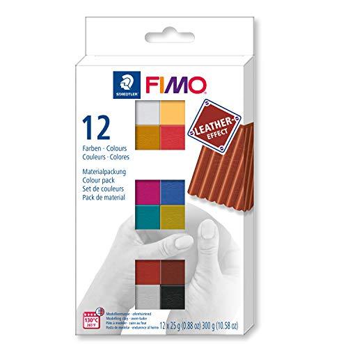 STAEDTLER 8013 C12-2 FIMO Leather-Effect ofenhärtende Modelliermasse (für kreative Objekte im Leder-Look, lederähnliche Optik und Haptik, Set mit 12 Farben) -