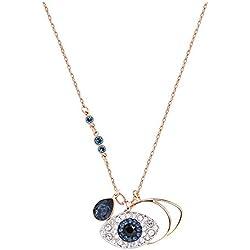 Pendentif Swarovski Symbolic Evil Eye, cristal bleu, finition mix de métal, pour femme