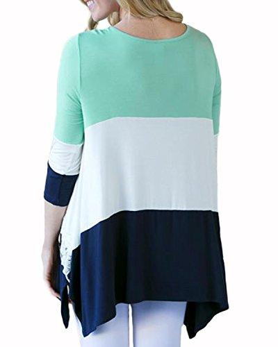 Auxo Damen 3/4 Arm Spitze Lose Asymmetrisch Oberteil Tunika T-Shirt Bluse  Hemd ...