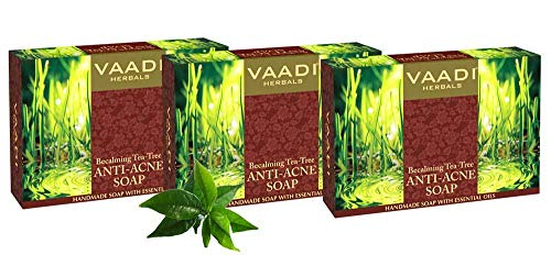 Vaadi Herbals Bio-Seife Bar Becalming Teebaum Seife Anti-Akne-Therapie Natürliche Seife mit Vitamin E 3 X 75 Gm -