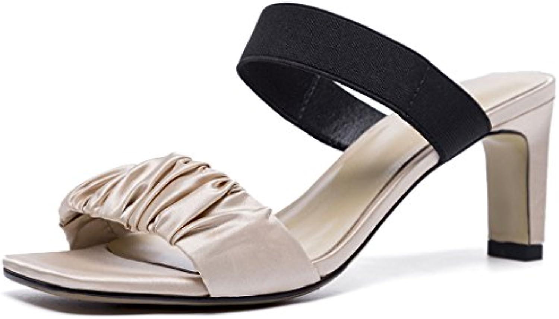 GAOLIXIA Frauen Damen Echtes Leder Offene spitze Sandalen Sommer Satin Mueller Schuhe High Heels Casual Hausschuheö