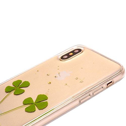 Mobiltelefonhülle - Für iPhone X Epoxy Tropf gepresst Echte Getrocknete Blume Weiche Transparente Schutzhülle ( SKU : Ip8g0985c ) Ip8g0985d