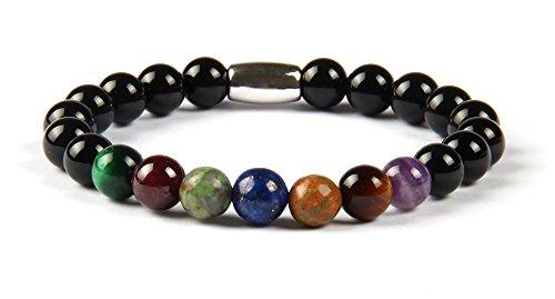 GOOD.designs sieben Chakren Perlenarmband aus echten Natursteinen, Energiearmband für Damen und Herren mit allen 7 Hauptchakren (7 Chakra Onyx)