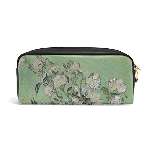 ZZKKO Rosen von Van Gogh Federmäppchen aus Leder mit Reißverschluss für Stifte, Schreibwaren, Kosmetik, Make-up-Tasche