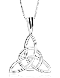 MunkiMix 925 Sterling Silver Pendant Necklace Silver Tone Irish Celtic Knot Triquetra Amulet Women,Men ,18 inch Sterling Silver Chain