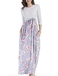 WOZNLOYE Frühling Herbst Lange Kleid Damen Freizeit Gestreift Druck  Spleißen Kleider Strandkleider Blusenkleider Mode Rundhals 3 72c21f4890