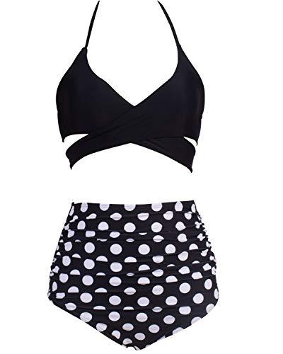 Eomenie Damen Bikini Push up Bademode, Retro Stil Zweiteilige Badeanzug mit Hoher Taille, Sexy Tankini Bauchweg große Größen Strandkleidung