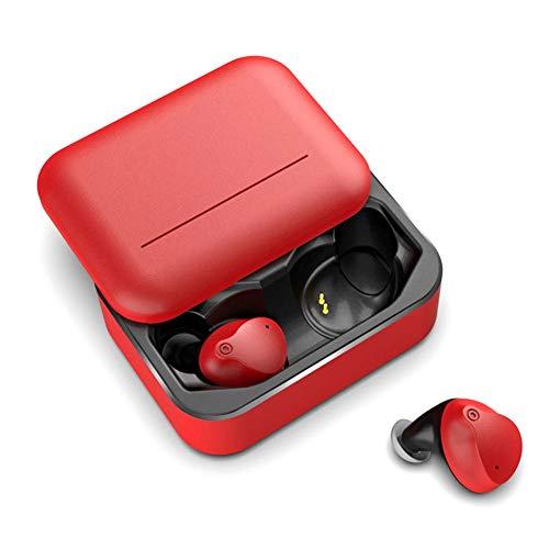 FengHeHaiLang Sport-Bluetooth-Kopfhörer mit Ladekiste, drahtloses Bluetooth 5.0-Stereo-Car-Headset mit Mikrofon-Geräuschunterdrückung,Red