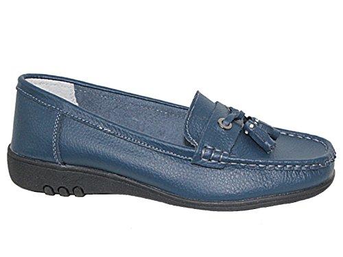 Cassie Chaussures bateau en Cuir véritable à gland à enfiler Bleu Marine