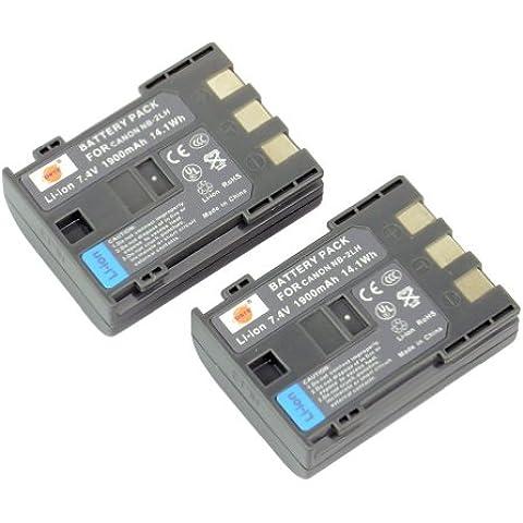DSTE® 2x NB-2LH Li-ion Batería para Canon NB-2L, NB-2LH, BP-2L5, BP-2LH, Canon Optura 30, 40, 50, 60, 400, 500, PowerShot G7, G9, S30, S40, S45, S50, S60, S70, S80, VIXIA HF R10, HF R100, HF R11, HG10, HV20, HV30, HV40, ZR100, ZR200, ZR300, ZR400, ZR500, ZR600, ZR700, ZR800, ZR830, ZR850, ZR900, ZR930, ZR950, ZR960, DC301, DC310, DC320, DC330, DC410, DC420, Elura 40, 50, 60, 65, 70, 80, 85, 90, EOS 350D, 400D, Digital Rebel XT, XTi, FV500, FVM20, FVM30, FVM100, FVM200, HG10, HV20,