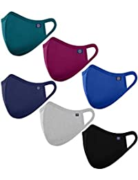 OCEAN RACE Cotton Anti Pollution 3 Layer Reusable Face Mask-Petrol Blue,Wine,Navy,Grey,Indigo Blue,Black-Pack of 6