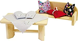 Rülke Holzspielzeug 21665 - Cojines y manteles para casa de muñecas