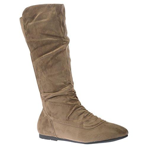 ByPublicDemand Stacy Femme Les chaussures plates bottes mollet Marron Beige