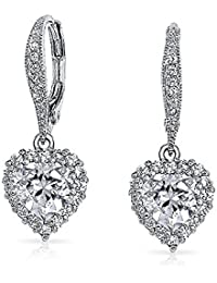 Bling Jewelry CZ Crown Heart Pave Bridal Leverback Earrings Rhodium Plated Brass