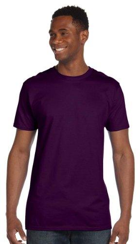 Hanes Mens Ringspun Cotton Crewneck Nano-T T-Shirt Deep Red