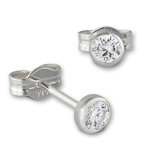 SilberDream Ohrringe 3mm für Damen 925 Silber Ohrstecker Zirkonia weiß SDO5533W