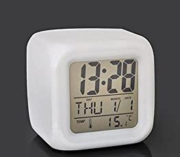 Prosmart Digital LCD Date Temperature Display Alarm Clock (White)