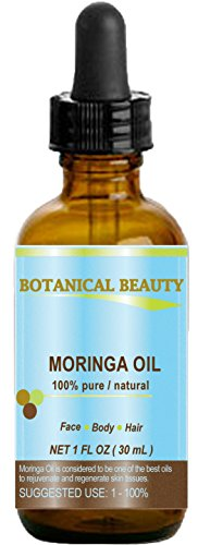 Botanical Beauty Moringa Oil . 100% Pure / Natural / Undiluted Cold Pressed Carrier Oil. 1 Fl.oz.- 30 ml. For Skin, Hair, Lip And Nail Care. \