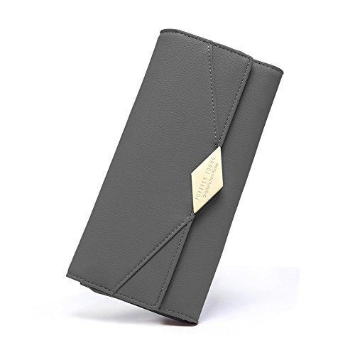 Damen Geldbörse PU Leder Kreditkarte Halter Lang Handy Geldbeutel Frauen mit Druckknopf grau