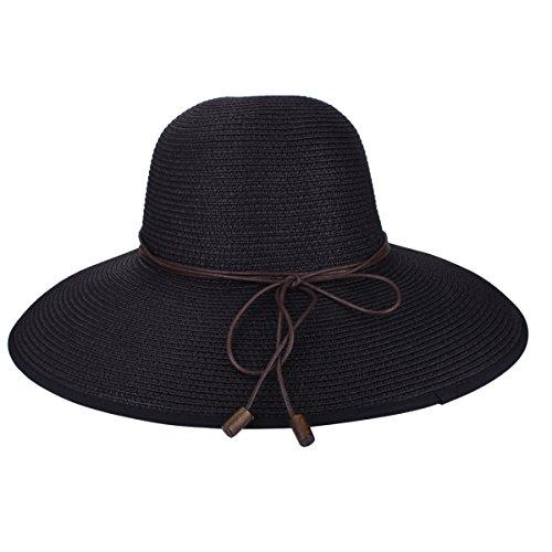 Sombrero de Disquete Summer Beach Sombreros de Paja de Sun Sombrero de protección Anti-UV de Viaje Packable UPF 50+ Sombrero de ala Plegable Plegable de Viaje Cap para Mujeres (9208 Negro)