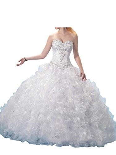 Promgirl House Damen Prinzessin Ball Gown Prom Ballkleider Quinceanera Kleider Festkleid Abendkleider Lang Weiß