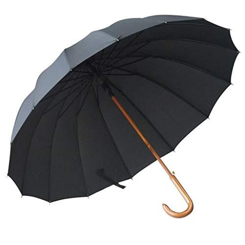 GONGFF Regenschirm \u0026 Klappbar Massivholzstange zur Erhöhung des Langgriffs Sonniges Massivholz mit gebogenem Griff Winddicht Doppel (Farbe: B) -