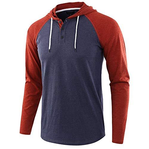Herren Kapuzenpullover Slim Fit Baumwolle-Anteil Moderner Herren Hoodie-Sweatshirt-Pulli Langarm Herren Pullover-Shirt mit Kapuze Blue 1 L