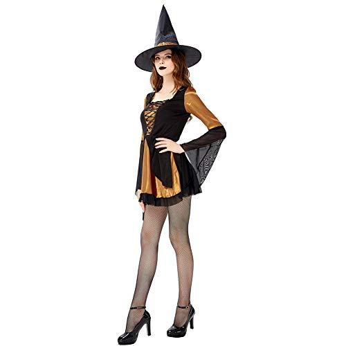 Magische Kostüm Lady - LEGOU Halloween Erwachsene Frau Party,Rollenspiel,BöSes HexenkostüM,Karneval BüHnenkostüM KöNigin Kleid,DREI GrößEn,Orange Schwarze Kombination,S