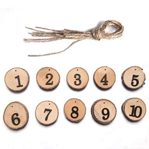 Senoow 10 Stücke 1-10 Holz Zahlen Karten Scheibe Runden Tisch Sitz Mittelstücke Hängen Zeichen Hochzeit Handwerk
