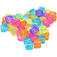COM-FOUR® 60x cubitos de hielo reutilizables en diferentes colores, cubitos de hielo para fiestas de bebidas refrescantes (60 piezas - dados)