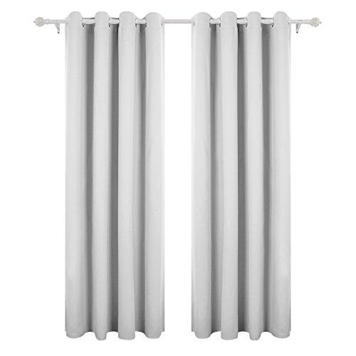 Deconovo tende oscuranti con occhielli tende termiche isolanti per casa moderne due pannelli 140 x 245 cm grigio perla