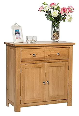 Waverly Oak 2 Door 1 Drawer Small Sideboard in Light Oak Compact Storage Cabinet Solid Wooden Unit