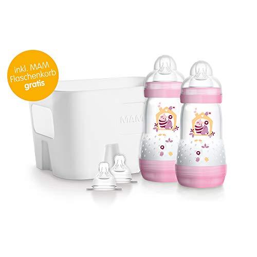 MAM Easy Start Anti-Colic Flaschen-Set - Babyflaschen Set mit 2 Anti-Kolik-Flaschen (260 ml), 2 Sauger Größe 1 & Flaschenkorb - Babyausstattung ab der Geburt, Katzen, rosa