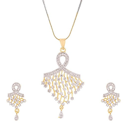 Zeneme American Diamond Gold Plated Pendant Set with Chain Jewellery for Women / Girls