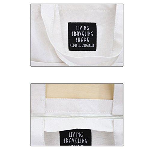 Vbiger Borse Tote di tela Borsa a tracolla chic Borsa alla moda per donne(Grigio) bianca
