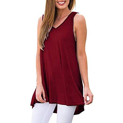 Vimoli T-Shirts Hemden der Frauen Blusen Sommer ärmellos Solides mit V-Ausschnitt Tunika Tops Blusenhemden(Wein,XXL)