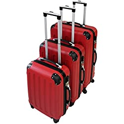 Todeco - Juego de Maletas, Equipajes de Viaje - Material: Plástico ABS - Tipo de ruedas: 4 ruedas de rotación de 360 ° - Esquinas protegidas, 51 61 71 cm, Rojo, ABS