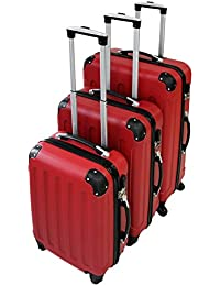 Set de 3 maletas Trolley, Maletas sólidas con ruedas - rojo