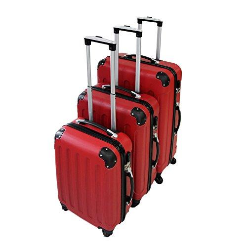 Set da 3 valigie Trolley rosse - Valigie a rotelle con sicurezza - 20''/24''/28''