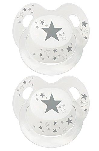 Baby Nova Dental Babysauger Beruhigungssauger Slimline Schnuller Sterne (Gr 1: von 0 bis 6 Monate, 2 Stk transparent mit grau)
